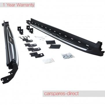 FORD KUGA POLISHED ALUMINIUM SIDE STEPS RUNNING BOARDS WITH LOGO 2012>ON