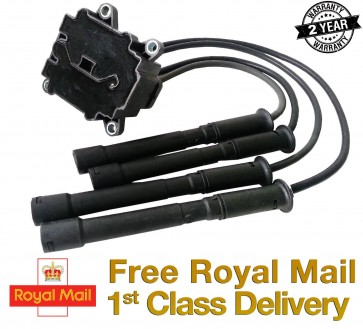 RENAULT CLIO 1.2 16V IGNITION COIL PACK + LEADS 4 BOLT FIXING 01>ON 2YR WARRANTY