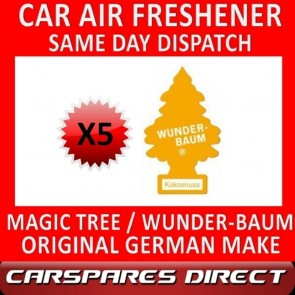 MAGIC TREE CAR AIR FRESHENER x 5 *COCONUT* ORIGINAL & BEST WUNDER-BAUM NEW