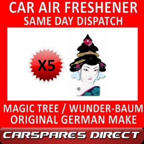 MAGIC TREE CAR AIR FRESHENER x 5 *GEISHA* ORIGINAL & BEST - WUNDER-BAUM NEW